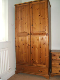 2 pine wardrobes with draw front and 2 pine bedside cabinets with 3 draw fronts