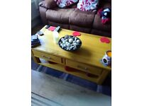 large solid oak coffee table, 4foot by 2foot.2. 2 draws and shelf. Very good condition