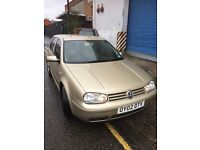 VW Golf Gt TDI 130bhp, 6 speed, gold/beige. 02 plate,service history, good condition.