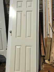 6 Panel White Pair of Doors 2' Wide