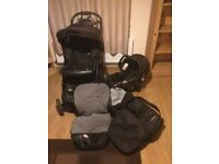 Full travel system pram with carry cot and car seat and accessories.