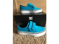 Brand new in box boys DC trainers size Infant UK 10 Turquoise Blue