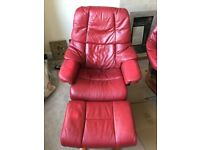 Ekornes Stressless Recliner and Stool (2 Sets Available)