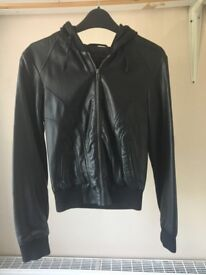 Faux Biker Leather jacket with hood