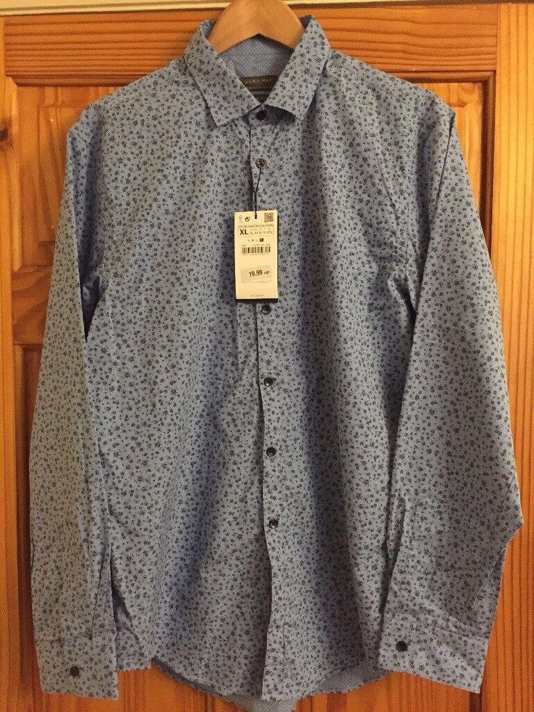 Zara Man Slim Fit Blue Floral Shirt XL