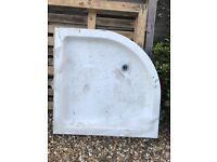 Cement resin corner shower tray. 900x900