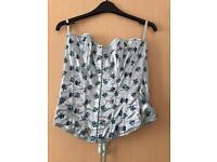 Blue floral corset, size L