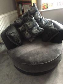 Black and grey cuddle swivel chair