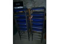 Metal framed stools with blue hard plastic seats