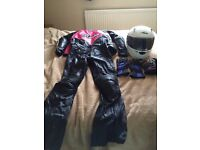 FOR SALE: Female helmet, leather jacket & pants, 2 pairs of gloves