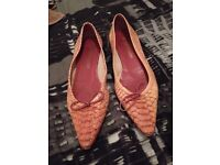 Size 38 Pink Leather Snake Skin Russel and Bromley flat pointed toe shoes with matching handbag