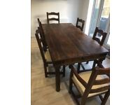 £385 - Dining Table and 6 chairs, high quality and very solid (was £2,000 new)