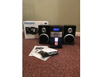 Philips DC146 CD radio iPod docking clock AUX Micro Hi-Fi entertainment system stereo speaker