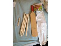 Child's cricket bat and stumps play set