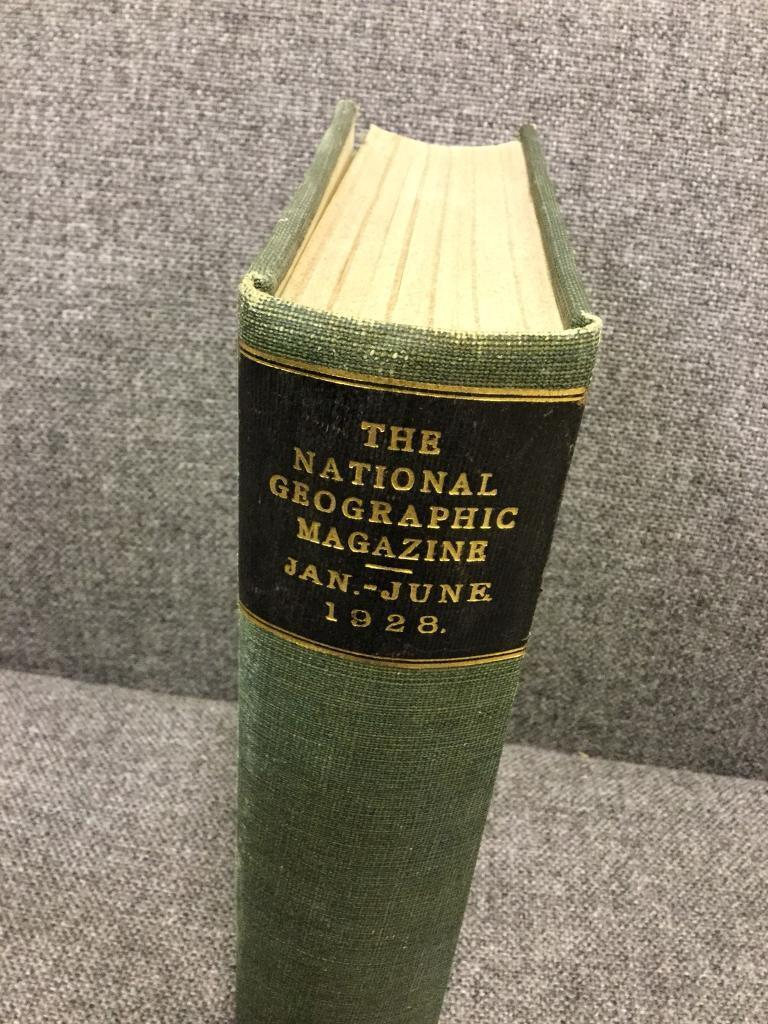 Vintage rare Antique Hardback Book The National Geographic Magazine Jan to June 1928 Nature Map SDHC