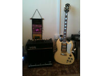 EPIPHONE G400 SG LES PAUL CUSTOM AND A VOX VT40 AMP FOR SALE.