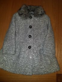 Girls 3-4 grey sequin coat practically brand new