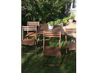 Teak garden table and four chairs / garden furniture set