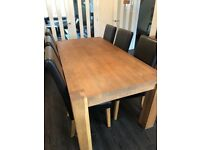 Solid Oak (Barker & Stonehouse) dining table and 6 chairs