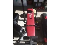 V-FIT BENCH WITH BAR AND EXTRA WEIGHTS, H/DUTY PUNCH BAG AND BIKE