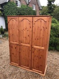 3 DOOR SOLID PINE WARDROBE