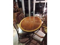FANTASTIC detailed oval table with 4 chairs freshly recovered QUALITY