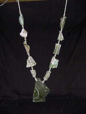 (BUTW Antique Iridescent 1st Century Roman Glass Bead Pendant Necklace 6798K)