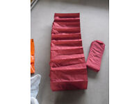 RED IKEA CANVAS HANGING SHOE RACK