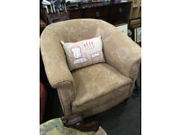 Traditional Antique Victorian Heavy Padded Tub Armchair
