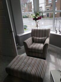 Designer arm chair + footstool. Sofology Canterbury range - Cost £1200