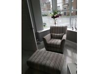 Designer arm chair + footstool. Sofology Canterbury range - Cost £1200