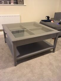 IKEA large coffee table, grey with glass top, 93cm x 93cm