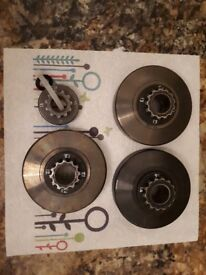 x3 Rotax Max Clutch Drums with attached 12, 13, 14 Toothed Sprockets plus 11 toothed sprocket spare