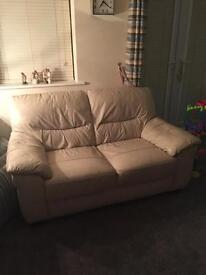 Cream Full Leather 2 and 3 seater sofas