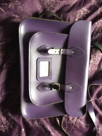 The Leather Satchel Co. deep purple satchel 14 inch
