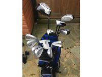 Full set of Ryder clubs, bag & trolley