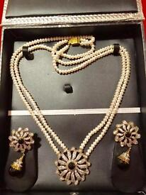 Real cultured Pearls with black pendant set with earrings.