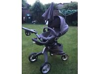 Stokke Xplory inc carry cot, foot muff, parasol,car seat , cup holder