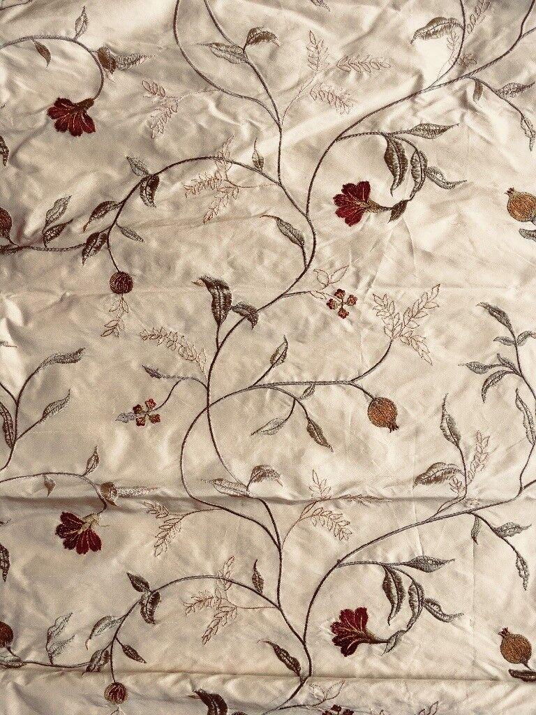 Silk embroidered roman blind