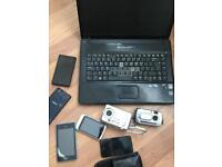 Non-working laptop, tablet cameras and phones