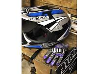 Motocross agv helmet gloves and goggles for kids