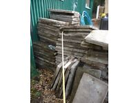 VERY OLD CONCRETE PATIO PAVING SLABS FLAG STONES (BURLEY)