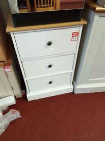 Kensington 3 drawer bedside - Oak and Grey second