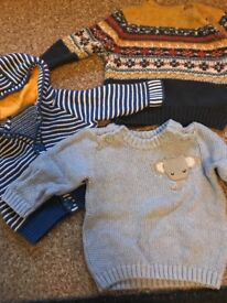 Newborn baby boy jumpers from Next, mothercare and Sainsbury's
