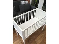 Baby's crib, used condition, few bumps & scrapes, mattress & protector if wanted