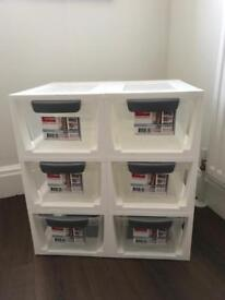 6 Stackable drawers- 6 litres each