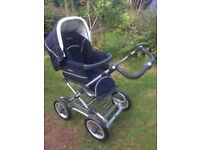 Silver Cross Sleepover Pram and Pushchair with raincover and changing bag