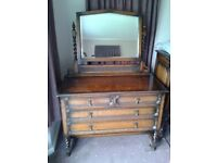 Edwardian 3 piece oak barley twist bedroom furniture; wardrobe, dressing table and chest of drawers