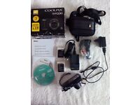 Nikon Coolpix S9200, £50, 18x zoom, + accessories, good condition