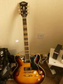 Hofner Semi acoustic Guitar. (unused) with 2 Hofner Humbucker pickups immaculate condition.£350.00